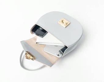 Christmas Gift, Tanned leather grey handbag, cylinder bag, leather bag, gray handbag, grey purse, grey shoulder bag, grey tote bag, grey