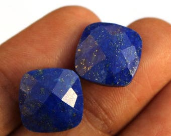 2 Pcs 1 Match Pair 10x10 mm, Lapis Lazuli Cushion Shape Faceted Briolettes, Perfect Matched Pair Cushion Briolettes