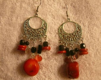 Earrings red and black beads