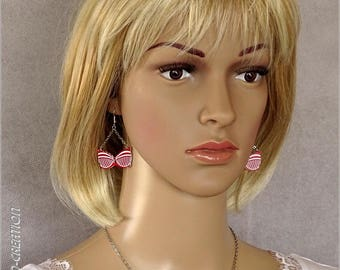 """Earrings Bra """"PASSION"""" (red/white)"""