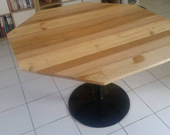 octagonal table wood recycled Sterling, 3 different species, metal legs