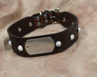 Leather White Stone jeweled Dog collar