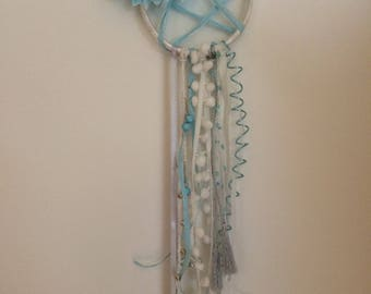 Blue and beige dream catcher