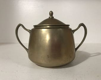 Vintage Solid Brass Sugar Bowl