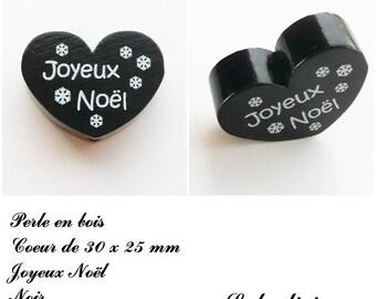 30 x 25 mm wooden bead, Pearl flat heart, Merry Christmas: black