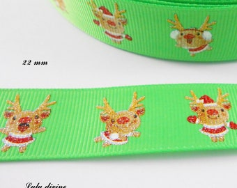 Ribbon green grosgrain with funny reindeer effect 22 mm sold by 50 cm