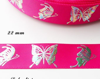 Fuchsia Butterfly shiny effect multicolor 22 mm grosgrain Ribbon sold by 50 cm
