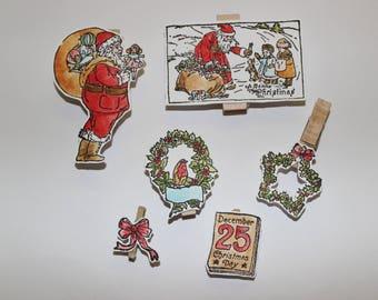 set of 6 handmade embellishments handmade Christmas themed wooden clip