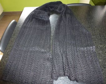 Large black knit scarf handmade openwork stitch