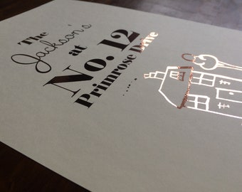 Rose Gold Personalised My Home & Family Foil Print (With Real Foil!) In Rose Gold (Framed and Unframed Available)