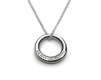 Sterling Silver Secret Message Necklace For Mum - We Love You Mummy - Mother's Day Gift - Family Necklace