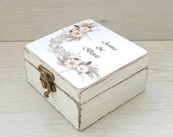 Rustic wedding ring box, Custom ring holder, Ring bearer box, Wedding ring box, Wooden ring box, Rustic wedding, Proposal ring box, Ring box