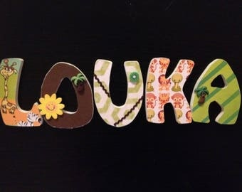 Custom order LOUKA jungle theme wooden letters