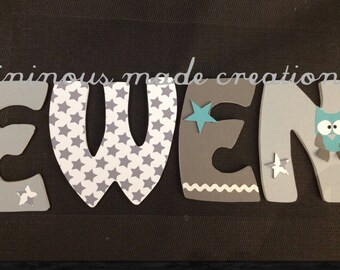 Decorated wooden name EWEN wood letter
