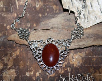Necklace with red stone, gothic