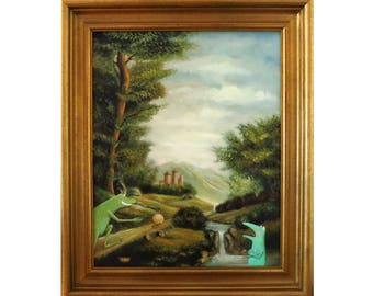The frog King, old oil painting, frog image, fairy tale image