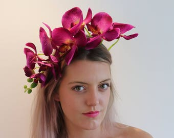 Deep Purple Orchid Flower Crown Headdress Festival Headpiece Fascinator