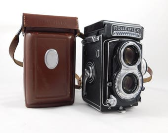 Metered Rolleiflex T TLR With CZ Tessar 75mm f3.5 lens. With case and strap.