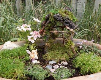 Fairy Gazebo with bark and moss roof