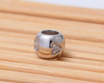 Sterling Silver Spacer Set With CZ| Love Heart Spacing Bead | Silver Bead | 6*5mm