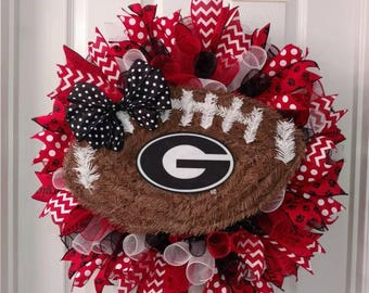 Georgia Bulldogs wreath, Georgia wreath, GA wreath, football wreath, college football wreath deco mesh wreath