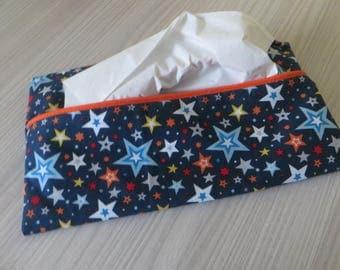 case has blue handkerchief has star