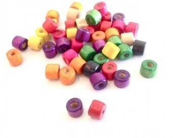 MIX 50 X 6mm wood beads
