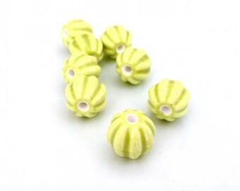 X 2 melon beads ❤ ceramic 12mm ❤