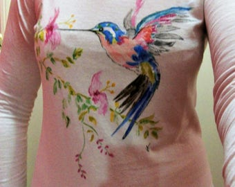 Bird of paradise painted on Tee shirt