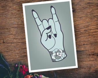 Rock on - illustrative postcard