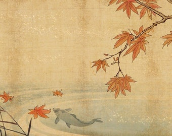 ORIGINAL design, durable and WASHABLE PLACEMAT - Japanese painting. Solitaire carp - classic.