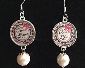 """Good chic good kind"" cabochon earrings"