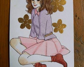 Original - girl A6 Format pastel drawing