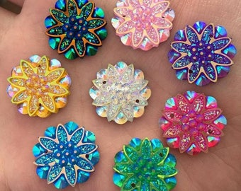 30pcs 18mm AB Resin flower Rhinestone Flatback Button Craft Sewing Button Scrapbooking Cabochon flatback Applique sewing