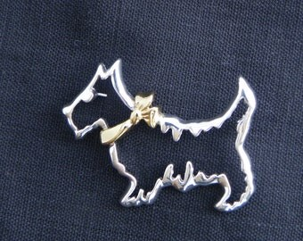 Napier Scottie Brooch, Outline Scottish Terrier Pin, Silver Tone, Gold Tone Collar, Outline Dog Brooch