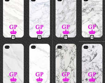 Personalised White Marble Phone Case With Pink Initials and Crown Customised Cover Cheap Design Effect Stone Your Personalise Black White