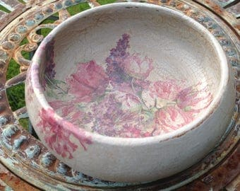 Hand painted and decoupaged floral wooden bowl