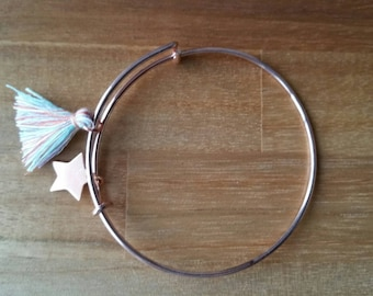 Pink metal adjustable Bangle Bracelet