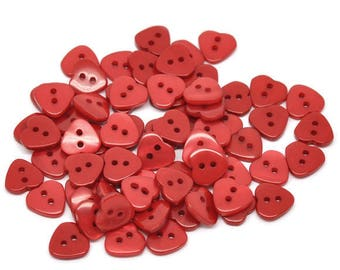 Resin button, heart, 2 holes, 1.1 cm, Red