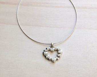 Smooth/brushed heart Choker