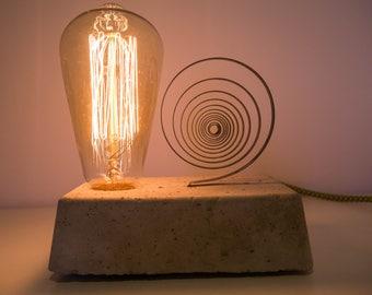 """Lamp concrete """"snail"""" spring clock vintage filament bulb"""