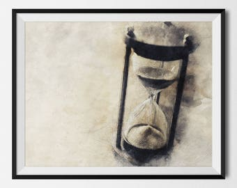 Hourglass, Hour Glass Print, Hour Glass Poster, Time Wall Decor, Sand Timer, Hourglass Decor, Sand Watch, Sand Clock, Gift, INSTANT DOWNLOAD