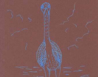 Blue heron metallic on Brown background design