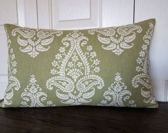 Decorative Pillow Cover Sage Green White Same Fabric Front/Back Modern Floral Throw Accent Decor Cover Pillow Flower Pillows  12 x 20 inch