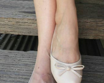 Cream Lola Leather Ballet Flats