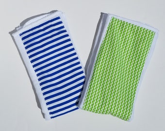 Boy Burp Cloths// Baby Boy Burp Cloths// Lime Green Chevron// Blue and White Stripes// Boy Shower Gift// Baby Boy Shower Gift//
