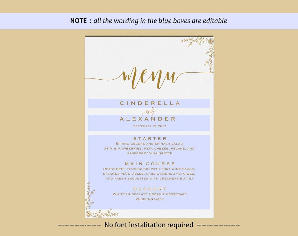 Gold Template Wedding Bar Menu Signs Signature Cocktail Printable Drink