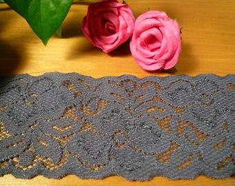 Grey medium stretch lace 6 cm wide