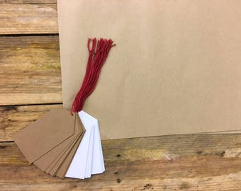 20 x White and Manilla Luggage Tags - Strung with Red Cotton