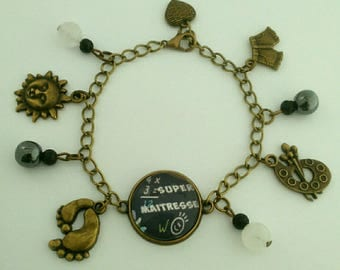 "End of year gift bronze ""super teacher"" charm Bracelet natural stone."
